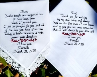 Wedding day gift Mom and Dad wedding day thank you gift embroidered wedding handkerchief By Canyon Embroidery