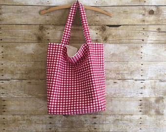 Reusable grocery bag reusable cloth grocery bag grocery shopping bag snack produce lunch trip eco friendly plaid market bag market tote bag