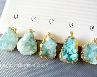 Druzy Druzy pendant Geode pendant druzes stone pendant 24k Gold plated Edge Druzy in Aquamarine blue color Jewelry making JSP-5524