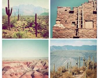 Southwest photography, set of 4, square photographs, Arizona photos, desert art, sale, discounted set, Southwest decor