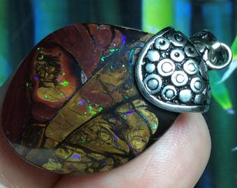 42.25 CT Australian KOROIT Boulder Opal Pendant Beautiful Pattern & Fire ~ Custom Sterling Silver Bail ~ Jewelry Necklace ~ Zen Opals