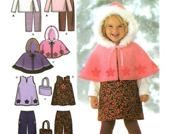 OOP Girls Jumper, Pant, Capelet, Bag, Top and Leggings, Sewing Pattern - Simplicity 4809 Sewing Pattern, Childs Sizes 1/2 -1 -2 -3 -4  UNCUT