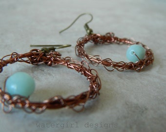 antique copper hoop and crocheted antique copper earrings with amazonite pebble, on antique brass earwires