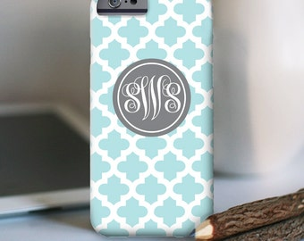 iPhone Personalized Case  - Quatrefoil monogram  - other models available