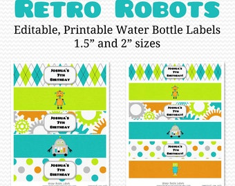 Water Bottle Labels, Retro Robots, Birthday Party Favor, Baby Shower Decor, Party Decoration -- Editable, Printable, Instant Download