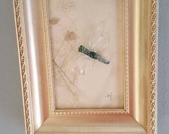 Lampwork, framed lampwork, wall art, glass art, home decor, handmade lampwork, dragonfly art