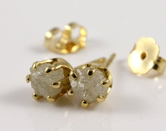 14K Gold Filled Studs With Rough Diamonds - True White Diamonds - Conflict Free Raw Diamonds - 5mm Large Post Ear Studs - April Birthstone