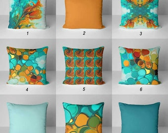 Throw Pillows, Teal Orange Pillow Covers, Decorative Pillows, Cushions, Abstract Pillow Colorful Pillows Mix and Match Blue Turquoise  Green