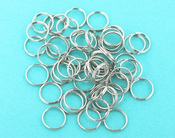 25 Split Rings Stainless Steel 14MM High Quality  Natural Color- J085 -