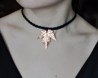 Leaf choker, maple leaf necklace, oak choker, charm choker necklace, everyday string choker, copper electroform, electroformed leaf, fairy