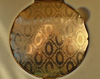 Gift Boxed Stratton Gold Tone Powder Compact Regency Style Pattern 1980's Vintage