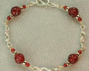 Roman Echoes- A 14k Gold, Silver, and Carnelian Bracelet