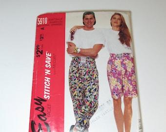McCalls Stitch'nSave Pattern 5910 Vintage 1992 UNCUT size medium-large misses or mens t-shirt, pants, shorts
