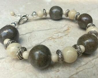 Memorial Bead Bracelet - Custom Keepsake Stoneware Pottery Pet Cremains Jewelry - TWISTED REEF Beaded Bracelet