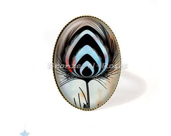 Ring * blue Peacock feather * accessory bronze glass cabochon