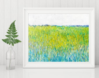 Abstract Landscape Painting Print - Art Printable - Digital Download Art Print - Abstract Art Print, Spring Field Modern Wall Art 8x10 11x14