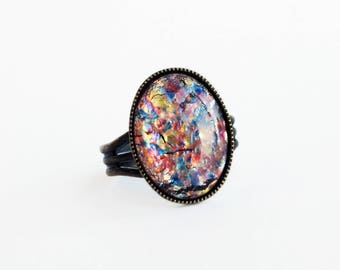 Rainbow Opal Ring Vintage iridescent Fire Opal Ring Large Ring Adjustable Antique Brass Iridescent Glass Jewelry