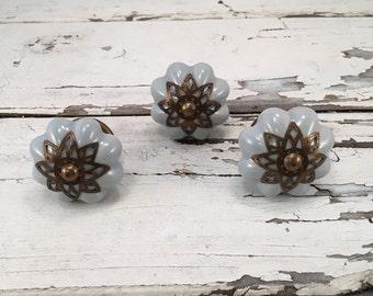 Knobs, Decorative Soft Grey Pumpkin Pull Knob With Bronze Apron, Furniture Upgrade Ceramic Drawer Pulls, Item #488757963
