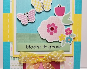 Handmade All Occasion Card, Bloom and Grow, Spring