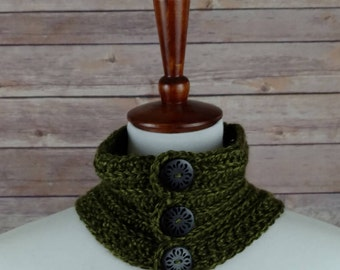 Small Fine Ribbed Neck Warmer Cowl in Hunter Green with 3 Wooden Buttons. For Men and Women. 100% Acrylic, Hypoallergenic.