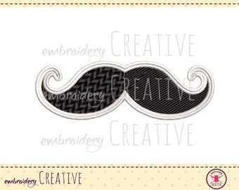Mustache Embroidery design for patch