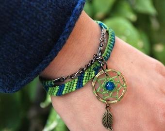 Turquoise Jadeite Bracelet, Dream Catcher charm, Jade dreamcatcher, Native american indian tribe, Best friend gift, Ethnic gemstone wrap