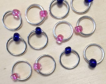 Set of 6 Snagless Stitch Markers - Fits Up To US8 Needles