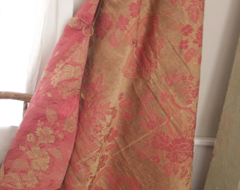 Antique French fabric silk damask pink gold metal curtain rings drape fragment 19th century textile