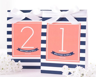 Nautical Wedding Table Number Tent Cards - Nautical Wedding Table Markers - Nautical Wedding Decor - Nautical Wedding Centerpiece - #wtn-211