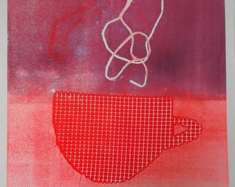 Etching monotype Cup and coffee cloud