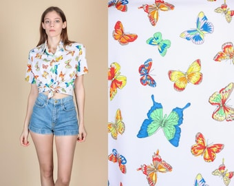70s Butterfly Button Up Blouse - Medium | Vintage White Collared Shirt