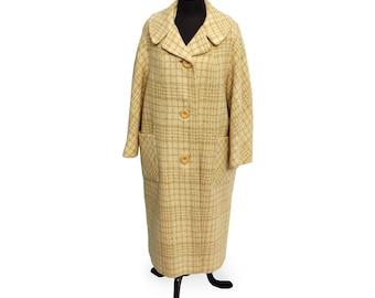 Vintage 1950s 3/4 Sleeve Windowpane Plaid Wool Coat (Fully Lined)