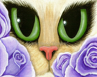 Cat Fantasy Art Lavender Roses Cat Painting Big Green Eyes Cat Portrait Fantasy Cat Art Print 8x10 Cat Lovers Art