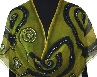 Silk Scarf Handpainted Olive, Black Handmade Shawl FOREST DANCE, in 3 SIZES. Birthday Gift. Mother's Day. Christmas Gift. Handmade Gift