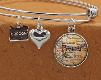 Portland Oregon Custom Map OR State Charm Bangle Bracelet Personalized Custom Vintage Map Jewelry Stainless Steel Bracelet