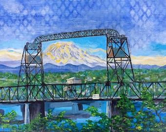"Murray Morgan Bridge, acrylic on panel. 9 x 12"". By Jason Sobottka."