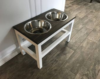 The Modern Farmhouse Style Raised Dog Feeder Raised Dog Bowl Stand Elevated Dog Bowl Dog Feeder Pet Puppy Bowl Feeding Stand