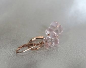 Rose quartz earrings, rose quartz jewelry gift, bridal earrings, pink earrings, 14k rose gold fill lever back ear wires