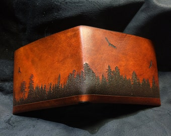 Leather forest silhouette wallet