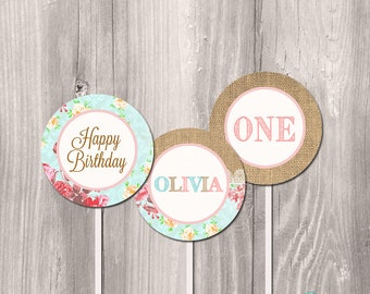 Shabby chic cupcake toppers, printable cupcake toppers, floral burlap cupcake toppers, shabby chic party circles, DIY cupcake toppers