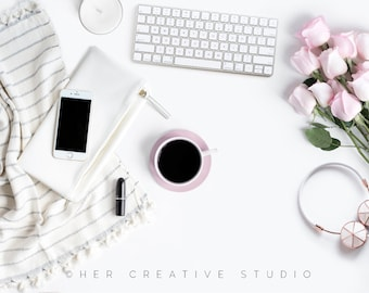 Styled Stock Photography | Flatlay Mockup, Pink Roses, Rose Gold headphones and Desk Accessories 3 | Styled Photography | Digital Image