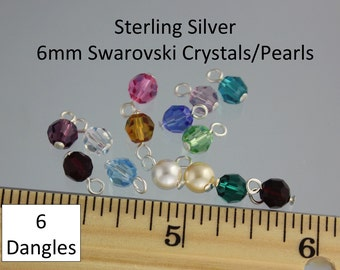 6 (Six) sterling silver simple loop wire wrapped 6mm Swarovski crystal or pearl round dangles - charms for bracelets, necklaces, earrings
