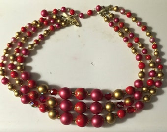 "Vintage Red Beaded Choker with Red Crystal Accents Triple Strand Bib Choker Necklace 14-17"" plus Extender"