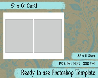 "Scrapbook Digital Collage Photoshop Template, 5"" x 6"" Card"