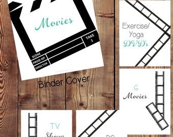 DVD Organizer, DVD Storage, Movie Organizer, Movie Collection, Movie Binder, Family Movie Binder, Movie Library, Printables