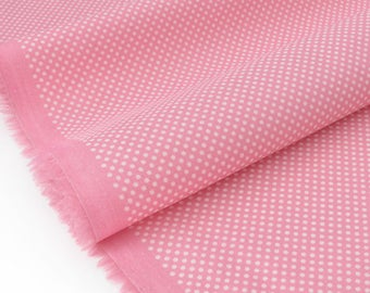 Poplin fabric silky flowing white dots background old pink x 50cm