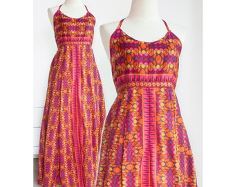 S - M, Boho Maxi Dress, Cami Printed Cotton Dress, Empire Waist Dress, Gypsy Festival Dress in Orange