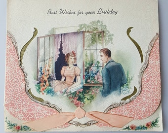 Vintage 1930s greeting card Best Wishes for Your Birthday girl in window with suitor