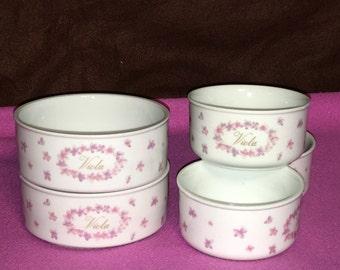 """Vintage 5 Porcelain Bowls Kujaku Gloire Viola White Pink Floral Bowls 4"""" and 5"""""""