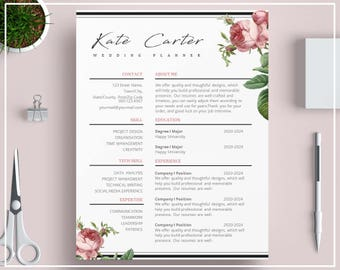 pink floral resume template floral cv template vintage roses resume template flower cv